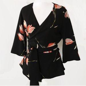 Zara Black floral wrap blouse top